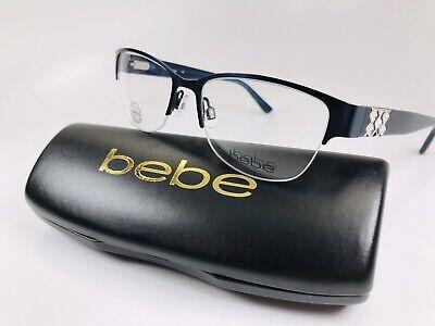New bebe BB5124 424 Navy Blue SLEEK Eyeglasses 51mm with bebe Case