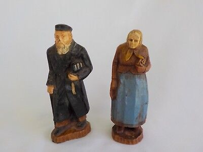 Old Man Woman Figurine Resin Faux Wood Book Cane Hat Black  Blue Total 2