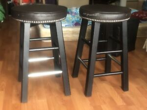 2 leather bar stools