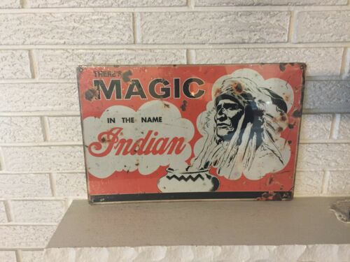 """Indian Motorcycles Logo Aluminum Sign New Size 12"""" x 18"""" Indian Chief Antiqued"""