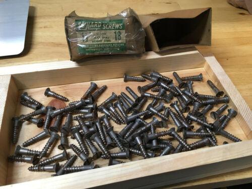 "NOS Box of 104 #18 x 1-1/2"" Bright Steel Flat Head Wood Screws Slotted USA"