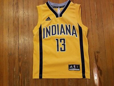 Indiana Pacers Paul George Adidas NBA Gold Alternate Jersey Boy's Size S ()