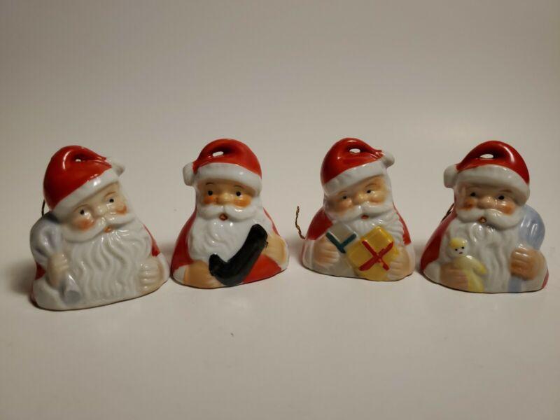 Vintage Ardalt Christmas Porcelain Santa Bell Ornaments Japan (A)