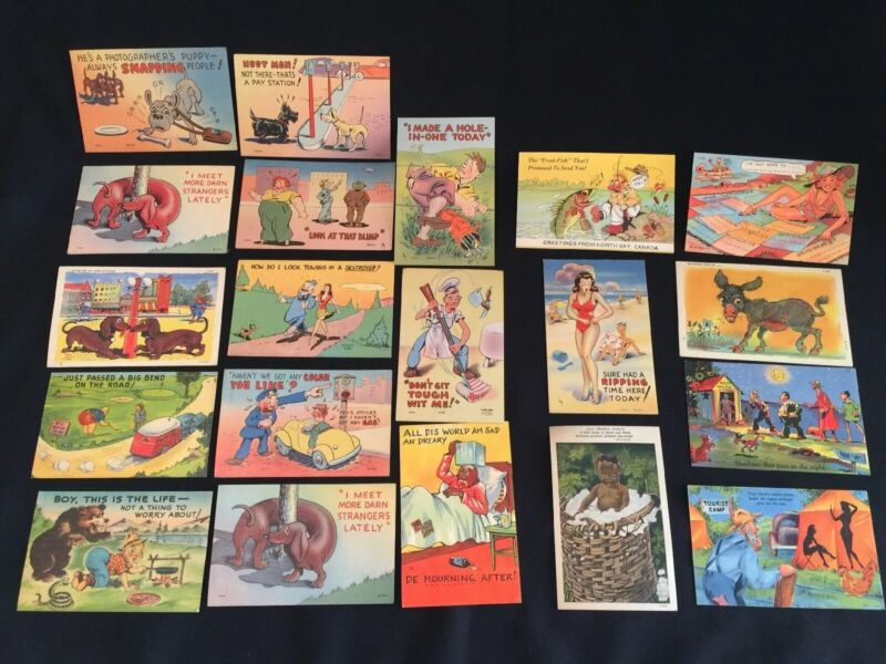 20 Vintage 1942-44 COMIC COMICAL POSTCARDS 13 Used 7 Unused Soldier Home Cards