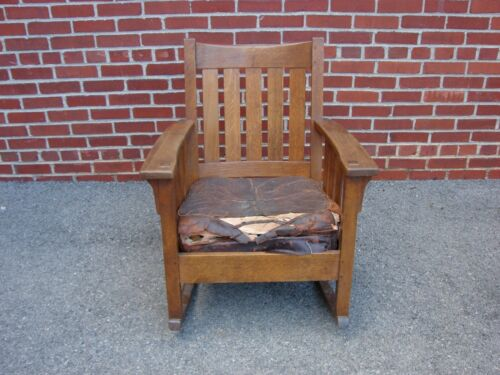 SIGNED LIMBERT MISSION OAK ROCKER ROCKING CHAIR