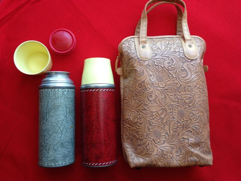 "Vintage Double-THERMOS Kit with ""Tooled"" Vinyl Zipper-Bag"