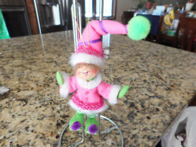 Annalee Cute Pink Girl Elf Holiday / Christmas Ornament (2011)