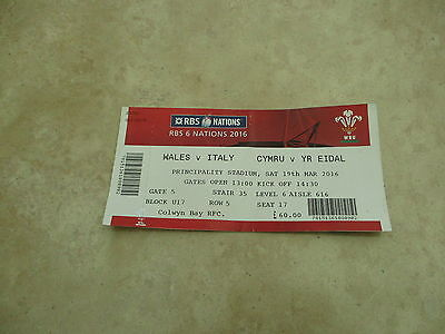 Wales v Italy RBS 6 Nations Saturday 19th March 2016 Match Ticket Stub.