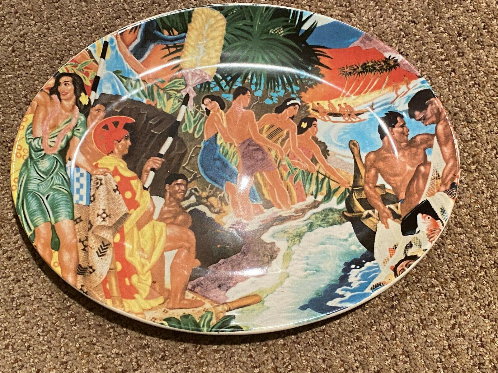 Vintage Hawiiana Ware, Lynn Krantz Oval Platter, Dishbooks Holmer Laughlin  - $75.00