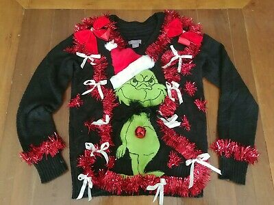 Grinch Women's Ugly Christmas Sweater Small Hand deco OOAK Jingles! Bows!