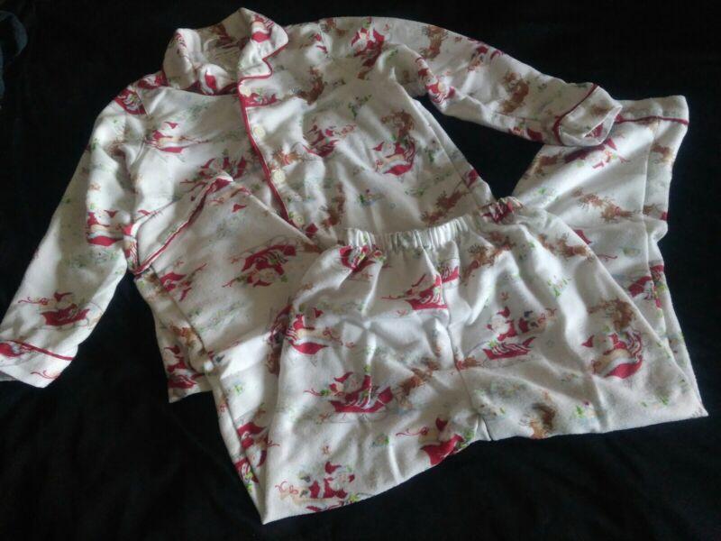 Pottery barn Kids Santa Christmas Two Piece Pajamas PJs Size 8