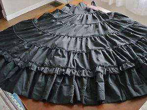 Bodyline Lolita Elegant Gothic Aristocrat Long Black High-Waist Skirt Size M NWT