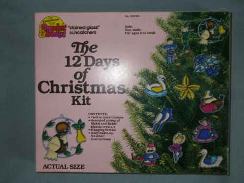 Makit & Bakit 12 Days Of Christmas Stained Glass Ornament Kit New Sealed