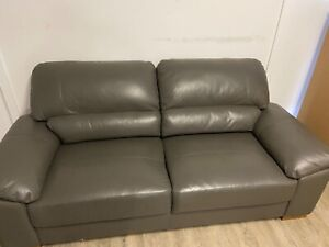 Sofa - soft grey leather in excellent condition!
