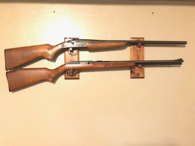 wooden wall gun rack - holds 2 guns - Great for display! - handmade