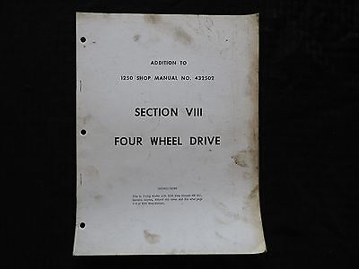 Genuine Oliver 1250 Tractor 4wd Repair Manual Supplement Very Good Vintage