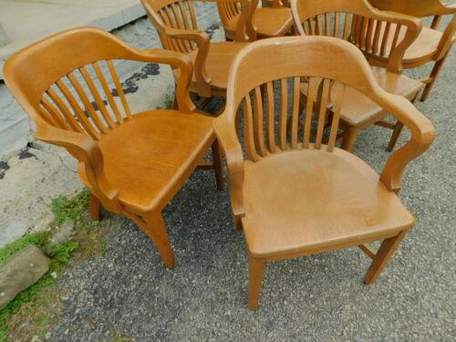 Buy 1-4 Antique 1930s Sikes Quartersawn Oak Office Jury Banker Windsor Arm Chair