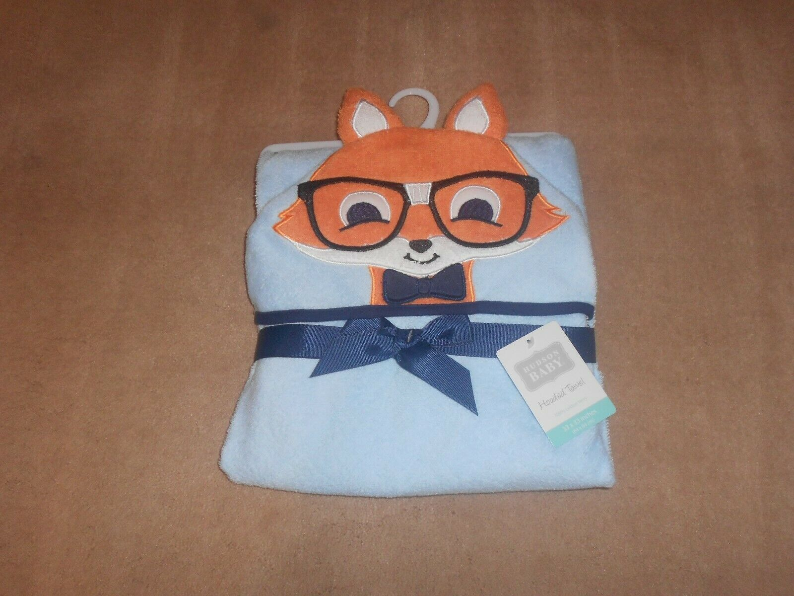 Hudson Baby Boys Animal Face Hooded Towel - Fox