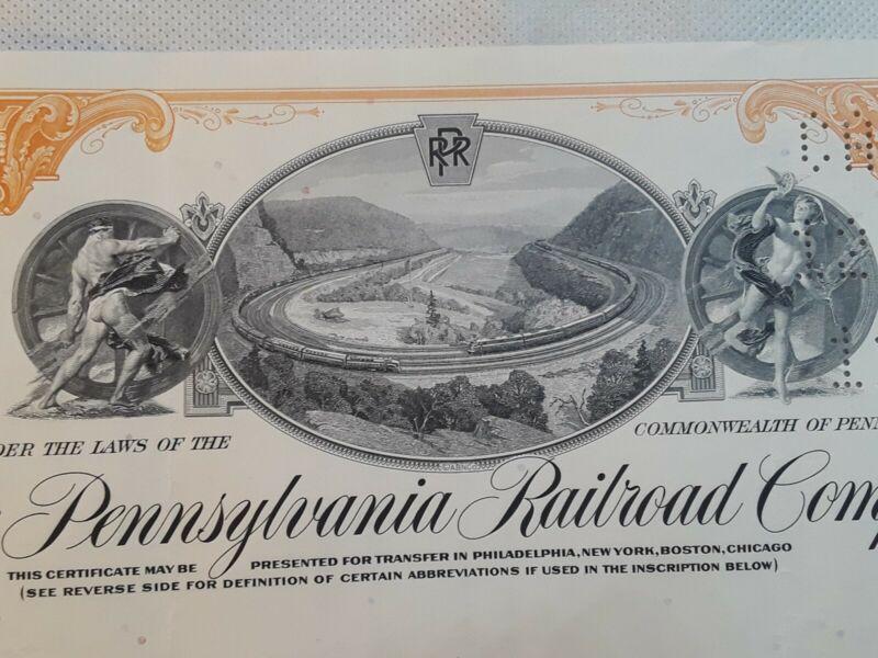 [70131] 1964 THE PENNSYLVANIA RAILROAD CO. STOCK CERTIFICATE Horseshoe curve