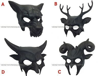 Halloween Devil Mask (Ram Goat Devil Antler Black Masquerade Mask Halloween Animal party Wall)