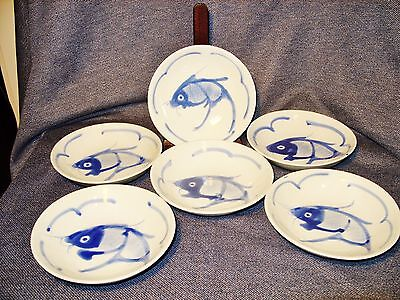 """Set of 6 Vintage Asian 5"""" Sushimi Serving Bowls with Hand Painted Koi China EUC"""