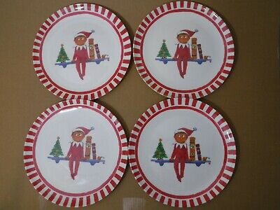 (4) Pottery Barn Kids Elf on a Shelf Christmas Melamine Plates Dinnerware 9in ()