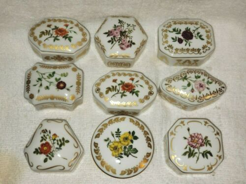 Lot of 9 Franklin Mint EMPRESS JOSEPHINE Rose Garden Trinket Boxes