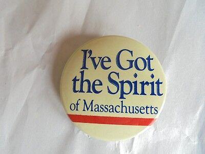 Cool Vintage I've Got the Spirit of Massachusetts Tourism Souvenir Pinback