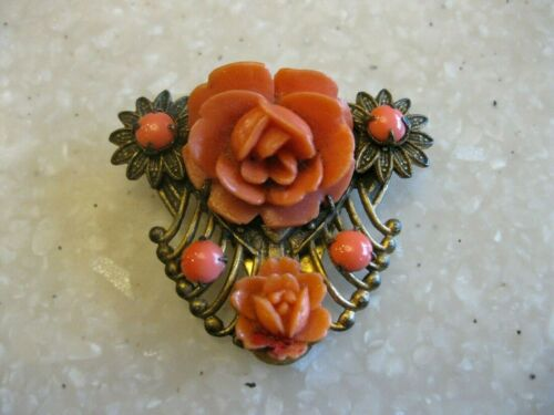 Older Vintage or Antique Dress Scarf Clip w/ Coral Celluloid Roses Flowers