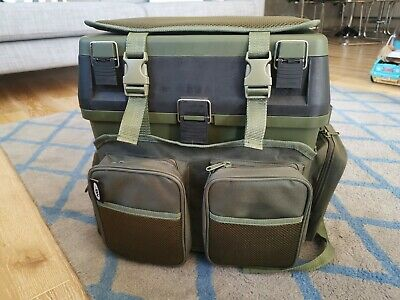 NGT Fishing Seat Tackle Box with additional pockets and rucksack and bait tray