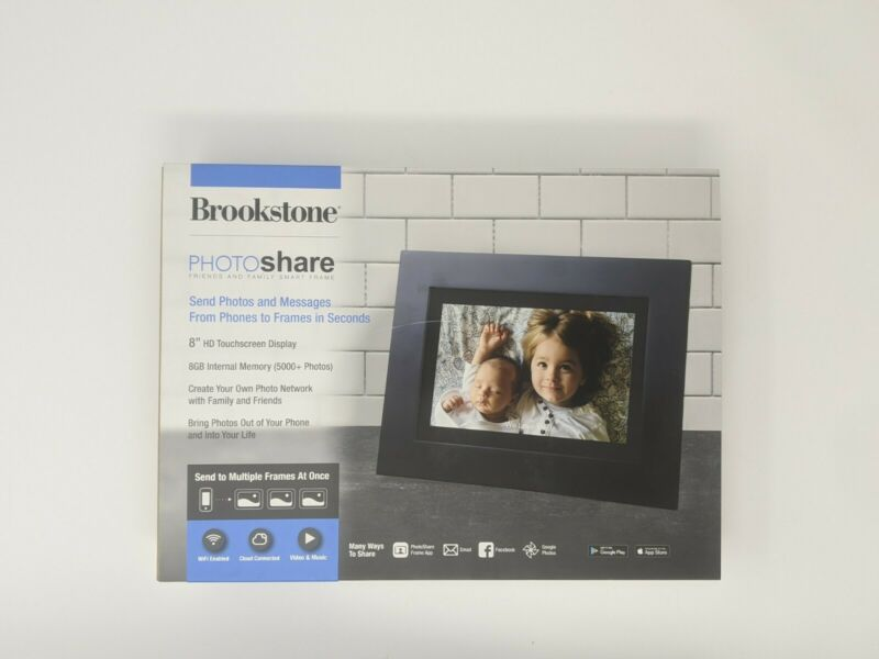 """Brookstone PhotoShare Friends and Family Smart Frame 8"""" HD Touchscreen Display"""