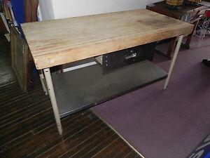 Butcher Block Kitchen Prep Table : 3 034 Butcher Block Top Stainless Steel Restaurant Work Station Kitchen Prep Table eBay