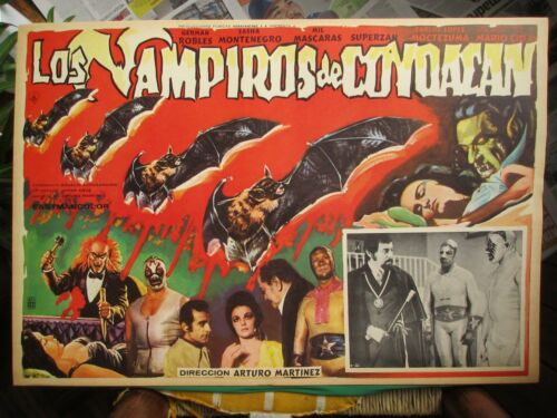 THE VAMPIRES OF COYOACAN Horror MIL MASCARAS Wrestling FULL SET 8 MEXICAN POSTER