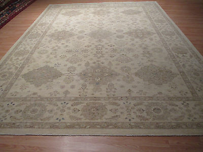 10x14 PERSIAN Antique Design MUTED Veggie Dye Handmade-knotted Wool Rug 58262