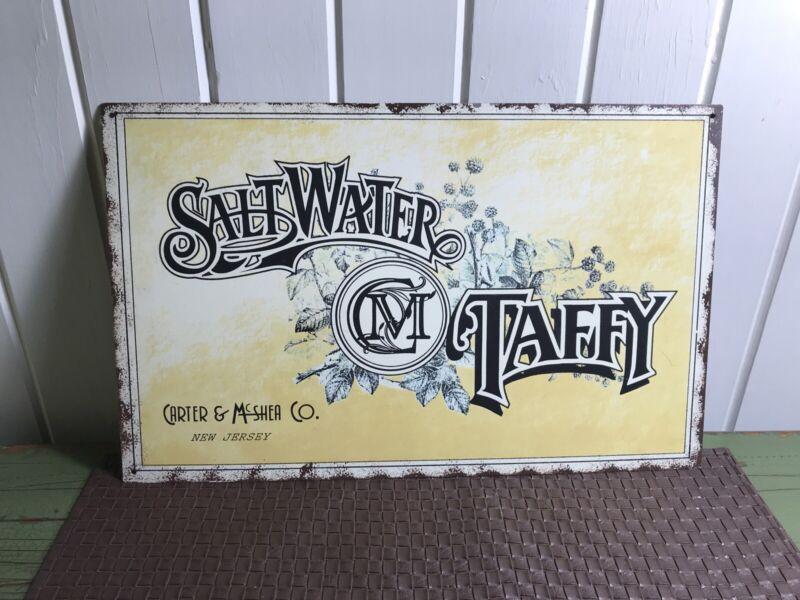 SALTWATER TAFFY CARTER & MCSHEA CO. NEW JERSEY METAL ADVERTISING SIGN