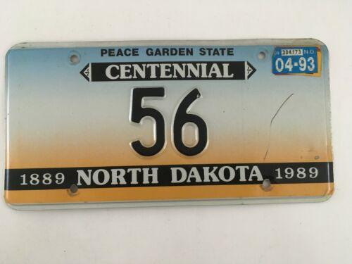 1989 1993 North Dakota License Plate Low Number Two Digit #56