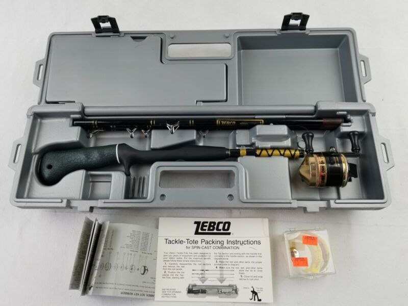 Zebco Tackle Tote with Rod 4298 and Zebco omega 171 reel, nice set