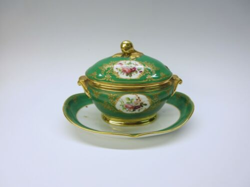 Early French porcelain tureen on attached tray with hand painted flower vignette