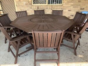 9 Piece Solid Timber Outdoor Setting