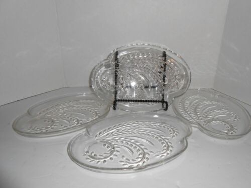 Lot of 4 Homestead Federal Glass Snack Plates