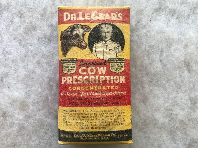 Dr. LeGear's Cow Prescription Tonic Vintage Unopened Package