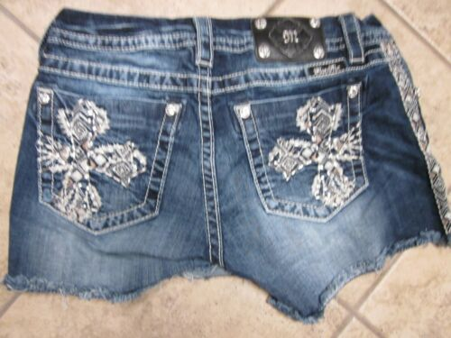 MISS ME Gold Cross Mid-Rise Easy size 28 CUT OFF SHORTS