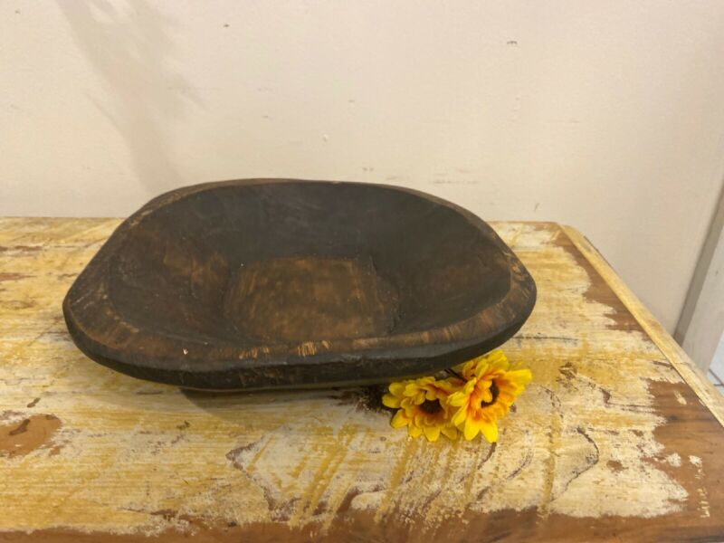 Primitive/Rustic/ Small Hand Carved Wood Trencher/Dough Bowl