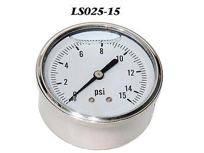 New Hydraulic Liquid Filled Pressure Gauge 0-15 Psi 14 Npt Cbm 2.5 Face