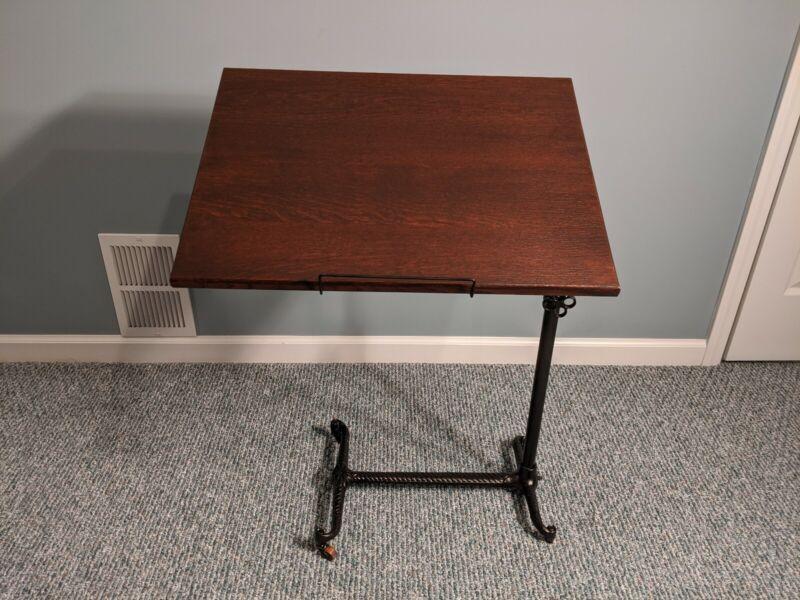 Antique Medical / Hospital Table, Adjustable Bedside Table, Victorian Cast Iron