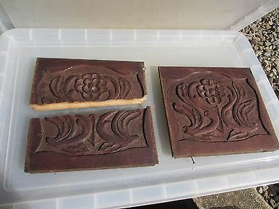 Vintage Wooden Panels Plaques Carved Wood Art Nouveau Antique Gilt Leaf Rococo