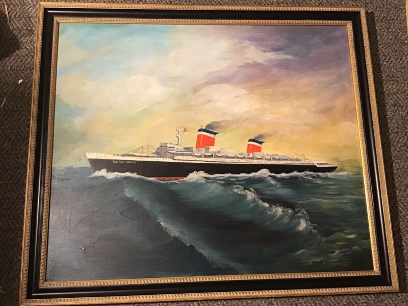 SS United States ORIGINAL PAINTING Ship Ocean Liner Vintage