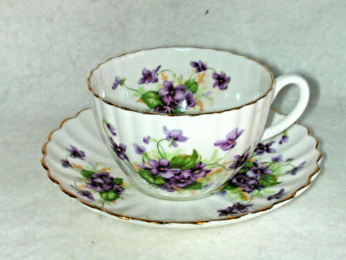 Vintage Radfords Bone China Cup & Saucer Violets Crown China England Mint