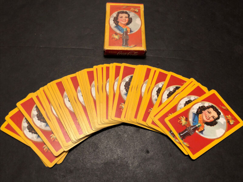 1943 AUTUMN LEAVES GIRL COCA COLA DECK OF PLAYING CARDS W TAX STAMP WWII