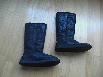 Sparkle Uggs Kids (uggs girls tall black sparkle boots 6 w youth)